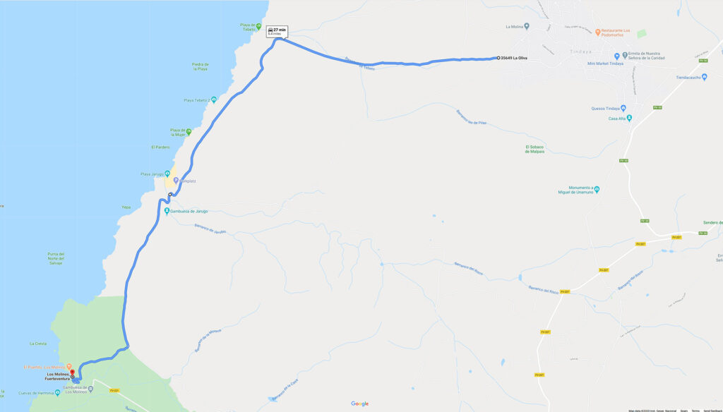 Los Molinos to Tindaya Route